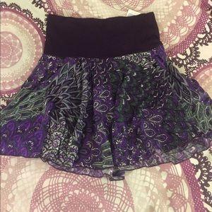 Hand crafted very soft Purple paisley mini skirt