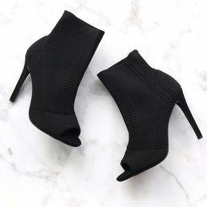 Style Link Miami Shoes - BLACK KNIT PEEP TOE ANKLE BOOTIES