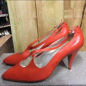 Jazz Orange Leather High Heels