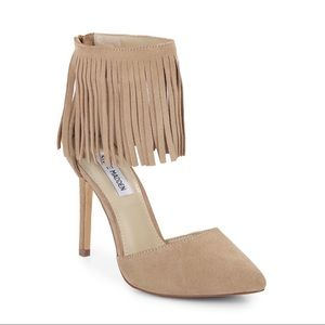 Steve Madden Shoes - Steve Madden Memmo Fringe Taupe Pointed Heels