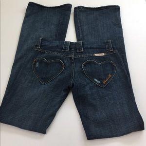 Frankie B. Denim - Frankie B. Heart Pocket Flare Jeans, size 2