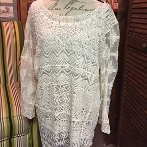 Cato Tops - Cato size 18/20W cream lace long sleeve shirt