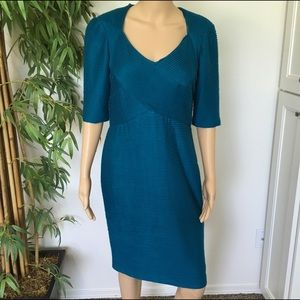 Maggy London Dresses & Skirts - Maggy London Teal Textured Midi Dress size 10