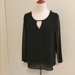 Naked Zebra Elegant Black Beaded Blouse