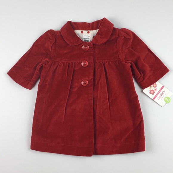 64% off Carter's Other - Carters Baby Girl Coat Red Velour Size 3M ...