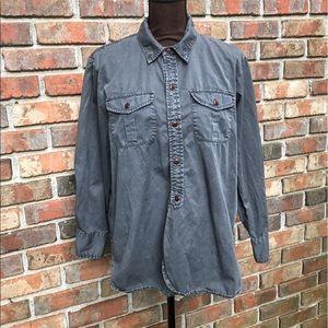 Gray Long Sleeve Button Down Shirt