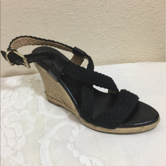 3f9e7eb2b14 Banana Republic Shoes - Banana Republic Black Crochet Ankle Strap Wedge 8