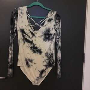 Amazing Lace Tops - Black and white tie dye bodysuit