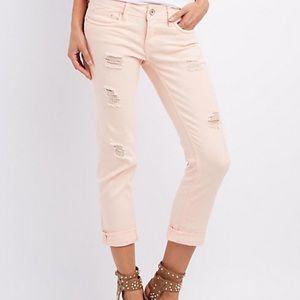 NWT- pink distressed jean capris