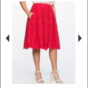 Eloquii missoni pompeian red eyelet skirt sangallo