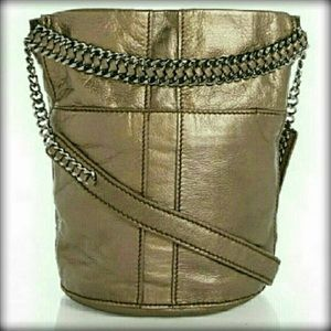 NEW RAMY BROOK Leather Bronze Crossbody Bucket Bag