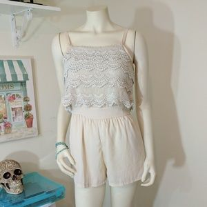 Monteau Other - Layered Lace Cream Romper