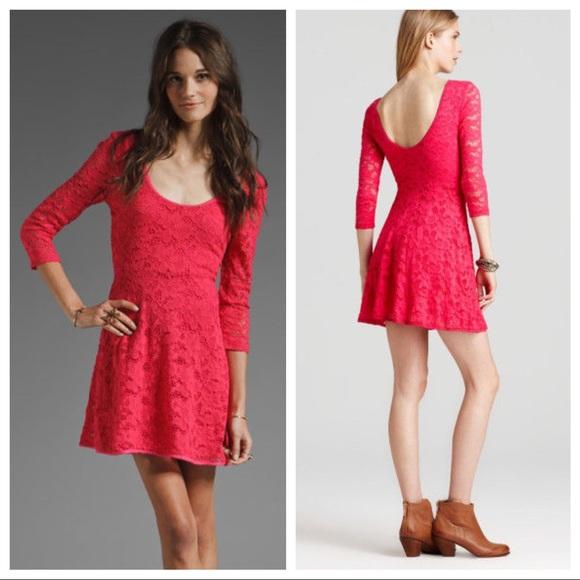374bd5ff1f Free People Garden Lace Hot Pink Skater Dress