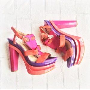 Gianni Bini Shoes - Gianni Bini Color Block Platform Heels Like New