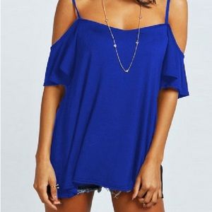 Tops - Soft & Sexy Open Shoulder Strappy T - Cobalt Blue