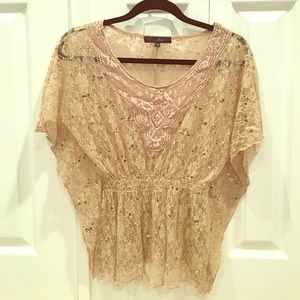 HeartSoul Tops - Gold Lace Babydoll Top