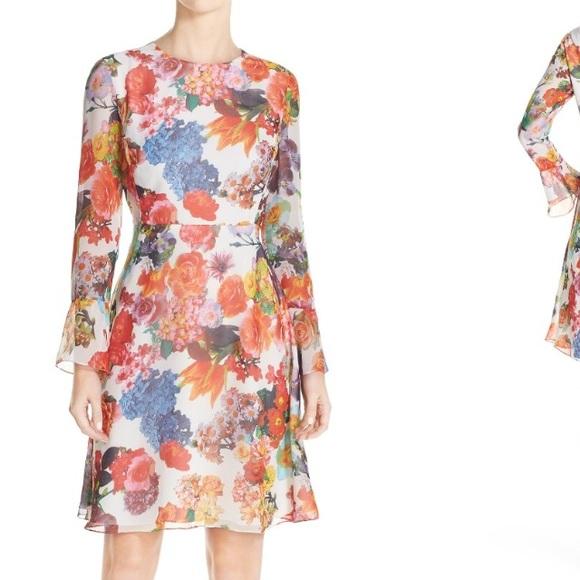Betsey Johnson Dresses   Skirts - Betsey Johnson Floral Print Chiffon  A-Line Dress d2e5368cc