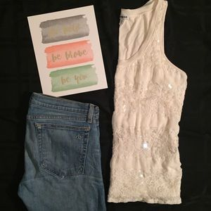 Express Tops - Express Lace & Sequin Tank