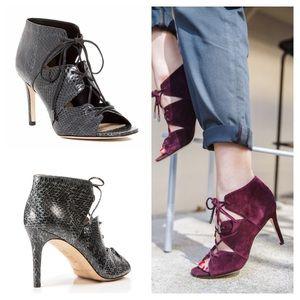 Via Spiga Shoes - Via Spiga Leather Snake Print Lace Up Heels