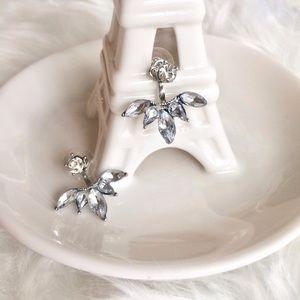 Jewelry - Silver &Crystal Leaf Earrings + Ear Jacket