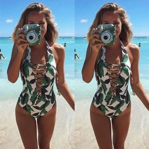 Other - White floral one piece monokini swimsuit