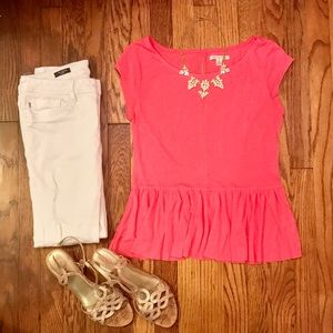 American Eagle Outfitters Tops - Neon Pink Peplum Tee