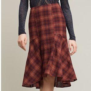 Anthropologie Plaid Wool Midi Skirt!