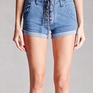 Lace Up Denim Shorts