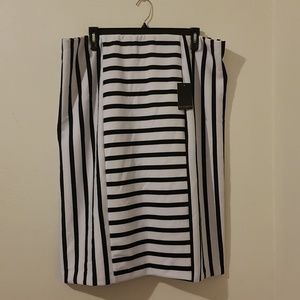 Mixed Stripe Pencil Skirt