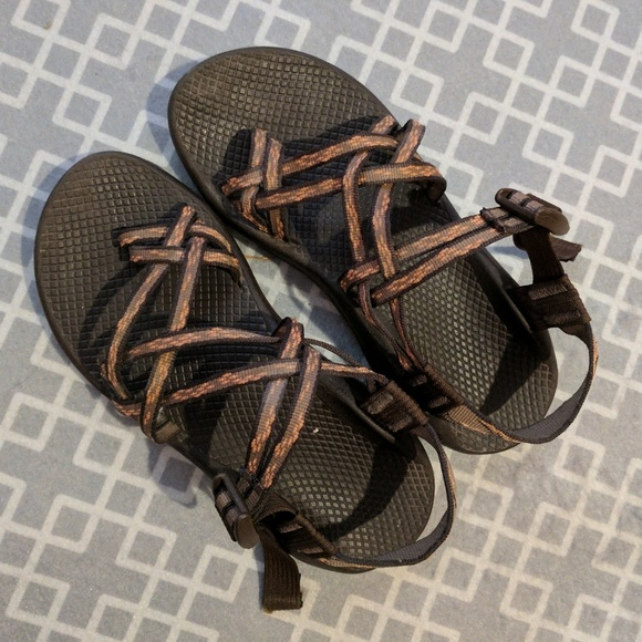 b240459630f3 Chaco Shoes - Brown with coral flower double strap chacos Chaco