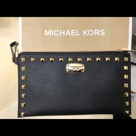 bd24c50637ec Michael Kors Bags | Sandrine Stud Black Clutch | Poshmark