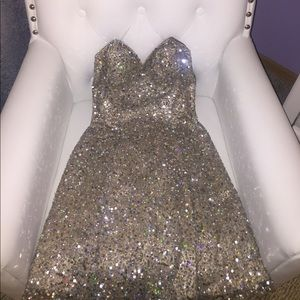 Scala Dresses & Skirts - Champagne & Silver Sequin Embellished Scala Dress