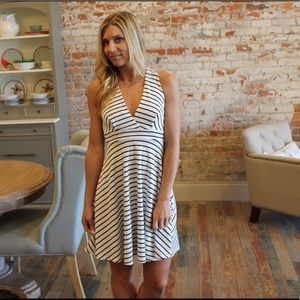 Dresses & Skirts - White and black striped fit and flare dress