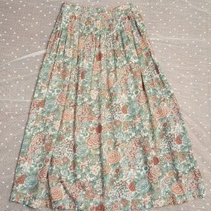 Vintage JG Hook Petites Floral Pleated Midi Skirt