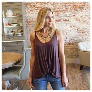 Twist front tank in chocolate color