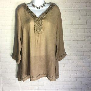 Krazy Kat Tops - Boho brown top blouse women's large dressy hem