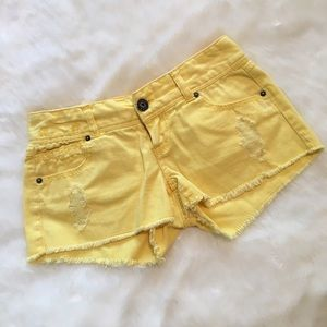 BONGO Pants - Bongo Yellow Distressed Cut Off Shorts