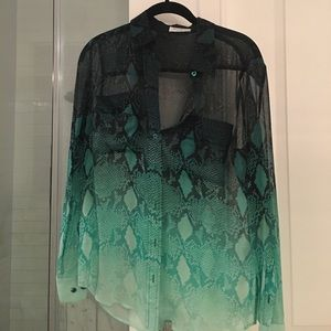Equipment Tops - Equipment black and green sheer printed blouse.