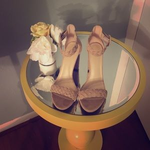 Wild Diva Shoes - Lulu's Braided nude block heels
