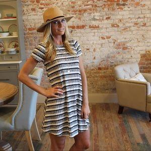 ✨RESTOCKED✨Gray. Ivory, Navy striped dress