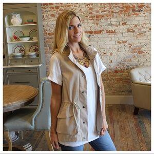 Jackets & Blazers - Khaki spring cargo vest