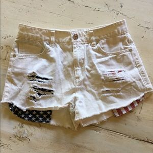 Refuge Pants - White American Flag Shorts