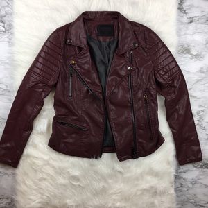 🆕 Blank NYC Burgundy Vegan Leather Moto Jacket