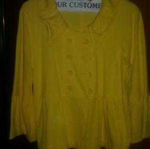 Tops - Yellow cotton blazer