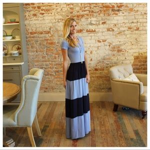 Blue and navy striped maxi dress
