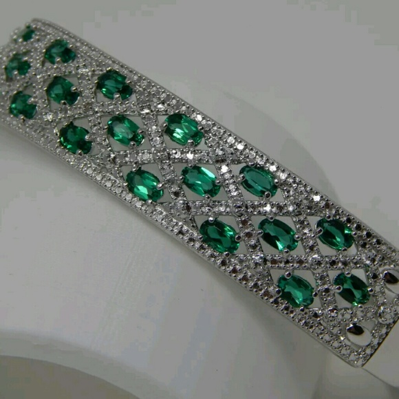69% off Zales Jewelry Zales Emerald Quartz & Real Diamond Bangle from C