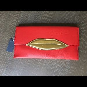 Lips - Red & Gold Lips Clutch Bag