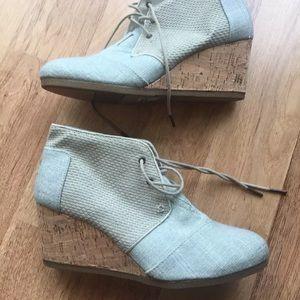 TOMS Shoes - New TOMS Desert Linen Espadrille Wedge Heels sz 11
