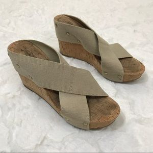 Lucky brand wedge miller 2 canvas stretch cork