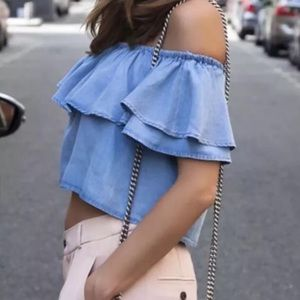 Zara Denim Chambray Off Shoulder Top